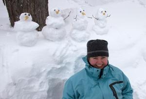 Kathryn Basham with snowmen